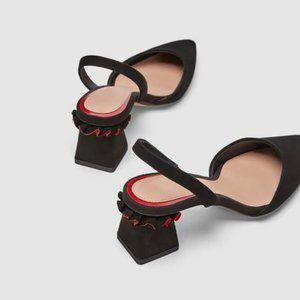 Zara Leather Slingback Square Ruffle Accented Heel